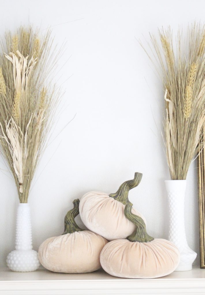 Transitional Fall Mantel- how to decorate the easy way for fall- mantel decor- mantles- decorating a fall mantel- autumn decor- decorating with wheat- pumpkins-milk glass- vintage finds- decorating with thrift store finds