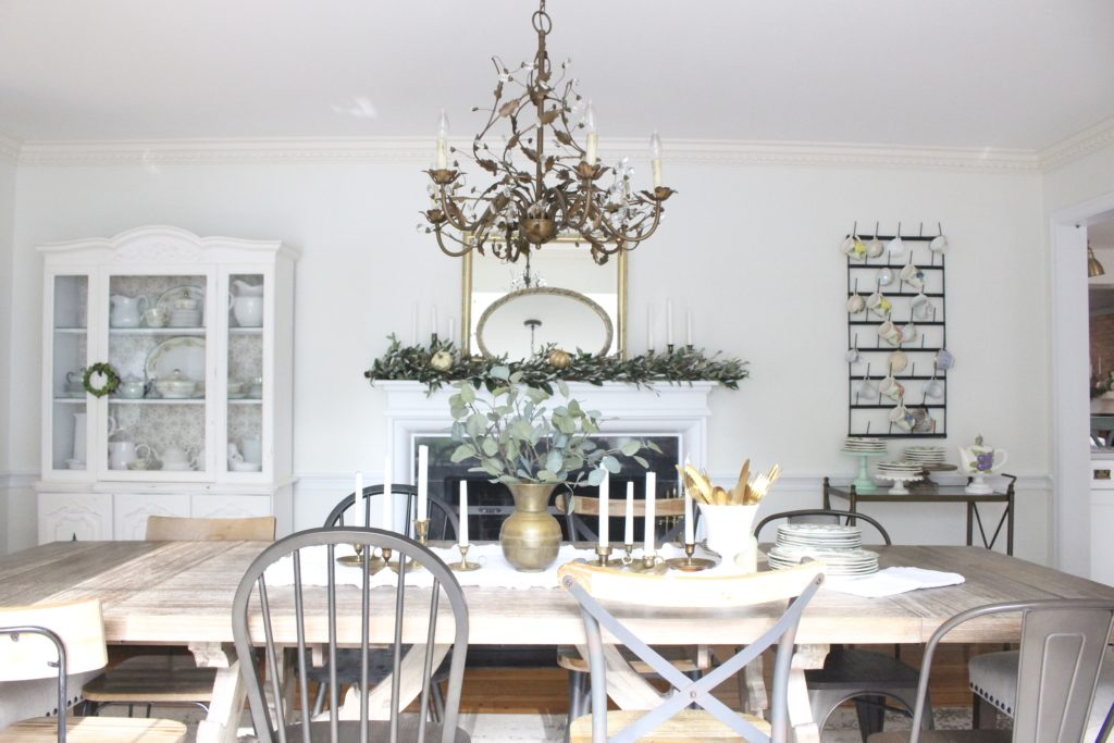 Classic Fall in our Dining Room- dining room mantel