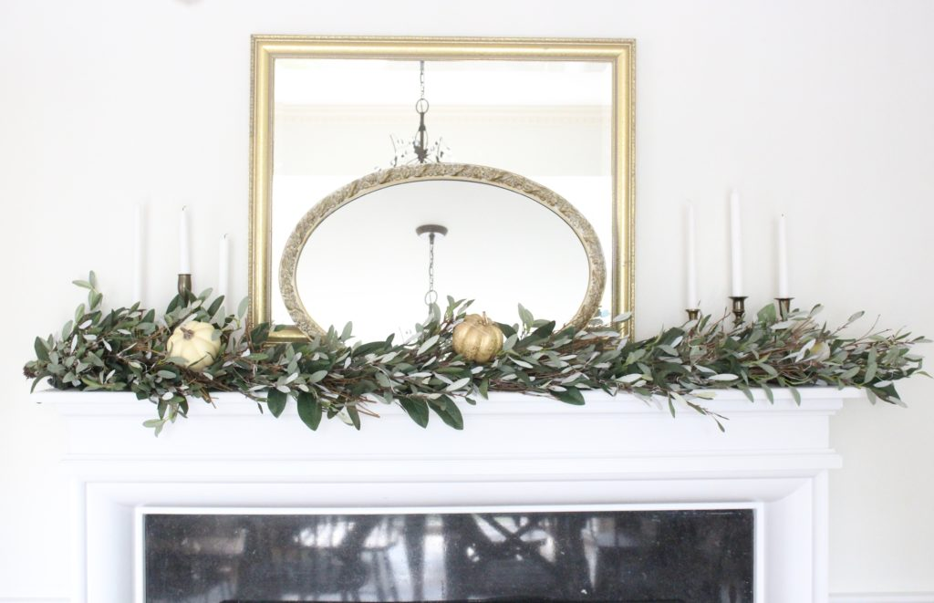 Classic Fall in our Dining Room- layered mirrors on the mantel