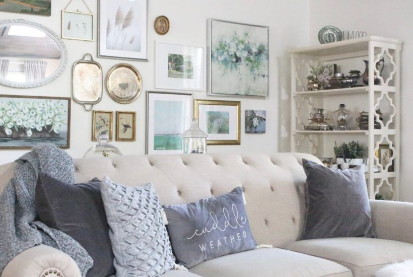 Decorating for fall with Subtle Colors- fall decor with pastel colors- pastel colors- green- gray for fall- living room fall decor- mantel decor for fall- subtle fall- simple fall decorations