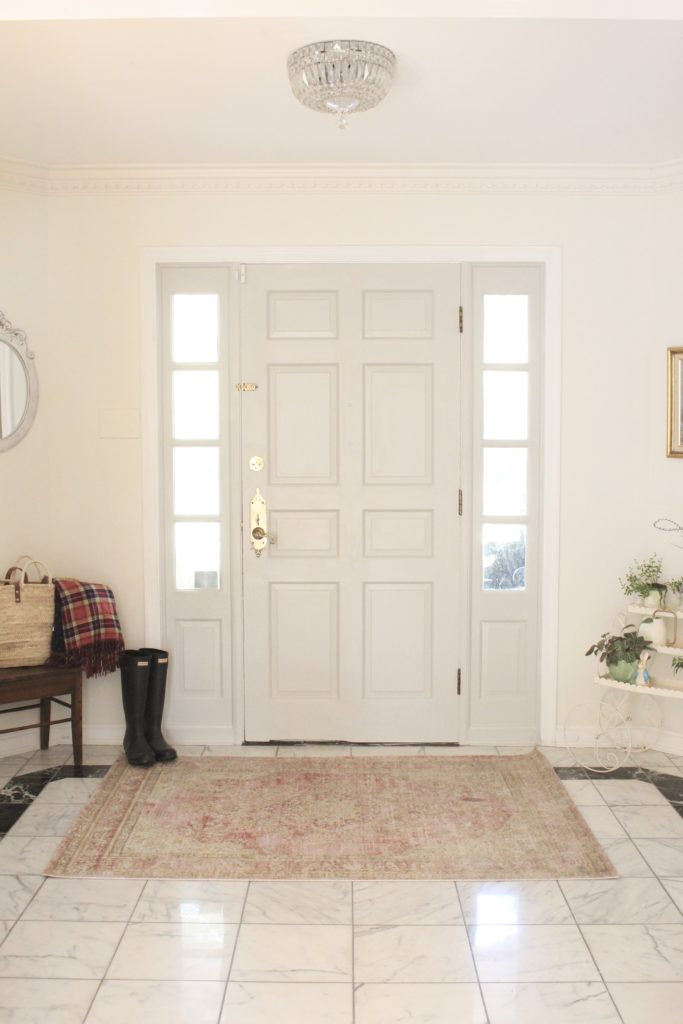 Painted Interior Entryway Door- painted door,- interior door- Sherwin Williams Repose Gray- entryway- interior door- diy painted door- updating an interior door with paint