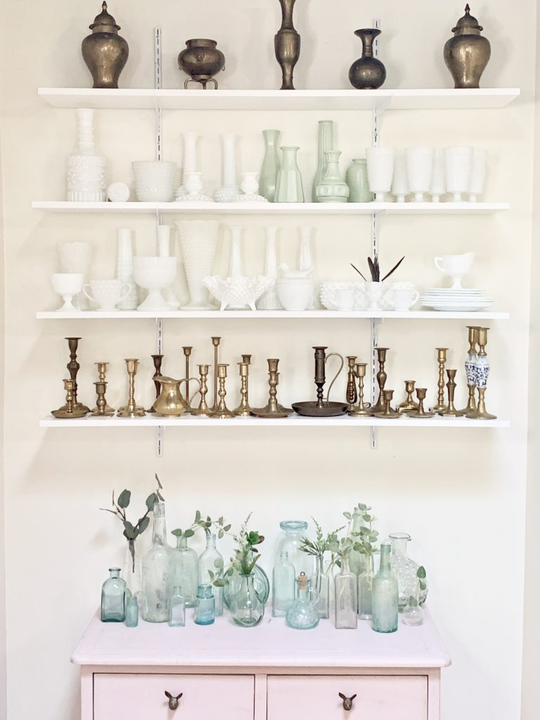 New Shelving in a Small Nook, glass bottles, collections, collectibles, displaying collectibles, wall shelving, DIY shelving, small space display, milk glass decor, brass candlesticks, white milk glass, vintage collections, displaying vintage items