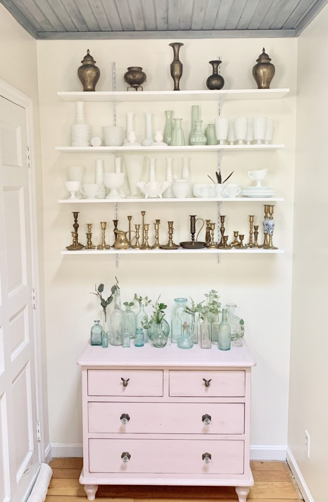 New Shelving in a Small Nook, pink dresser, pink furniture, painted furniture, collections, collectibles, displaying collectibles, wall shelving, DIY shelving, small space display, milk glass decor, brass candlesticks, white milk glass, vintage collections, displaying vintage items