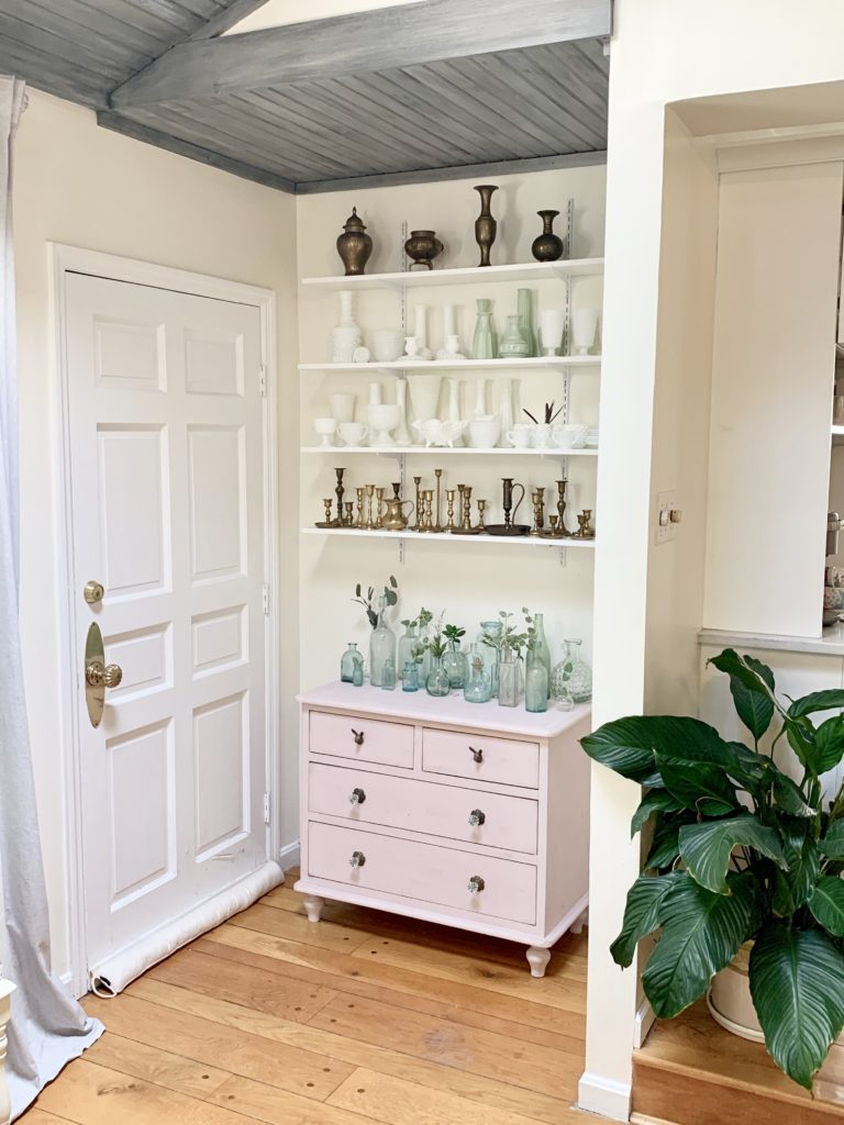 New Shelving in a Small Nook, pink dresser, pink, collections, collectibles, displaying collectibles, wall shelving, DIY shelving, small space display, milk glass decor, brass candlesticks, white milk glass, vintage collections, displaying vintage items