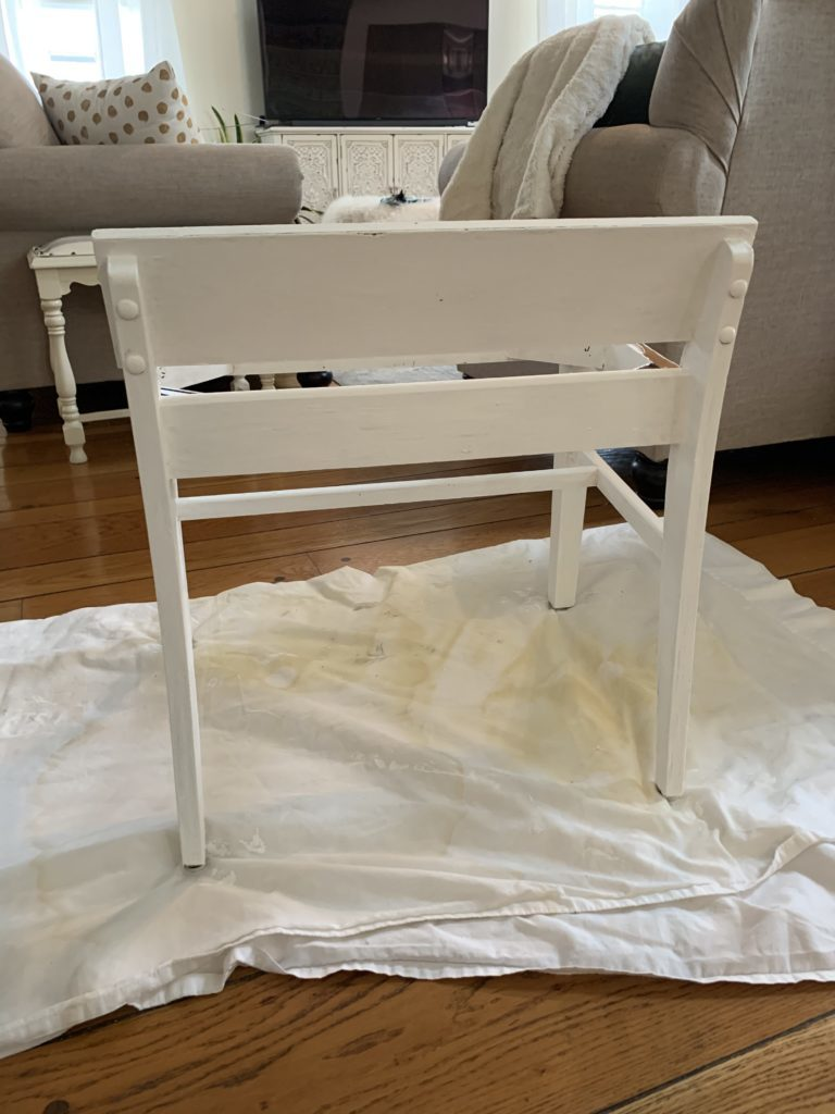 Using chalk paint and a pillowcase to transform a thrift store find
