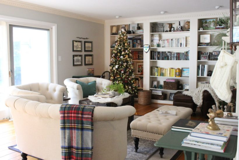 Christmas Cheer in our Library- plaid- traditional Christmas- holiday decor- holiday decorating- seasonal decor- animal ornaments- Christmas decorating- decorating with animal ornaments- brass- green- living room decorating