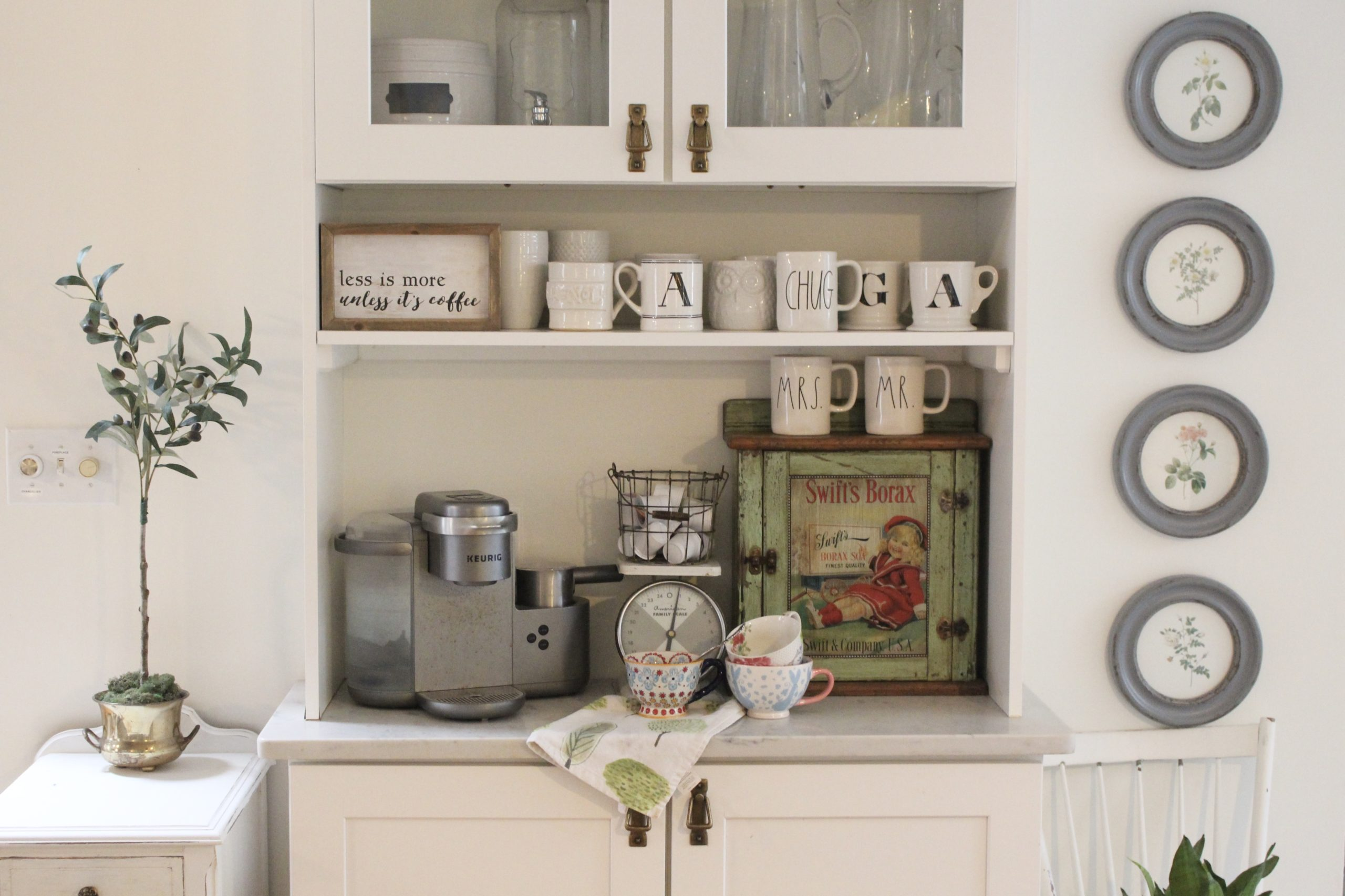 Thrift Store Cabinet Updated with Chalk Paint for a Coffee Bar.- diy- projects- painting furniture- using chalk paint- updating furniture- rusteoleum linen white chalk paint- coffee bar- coffee station