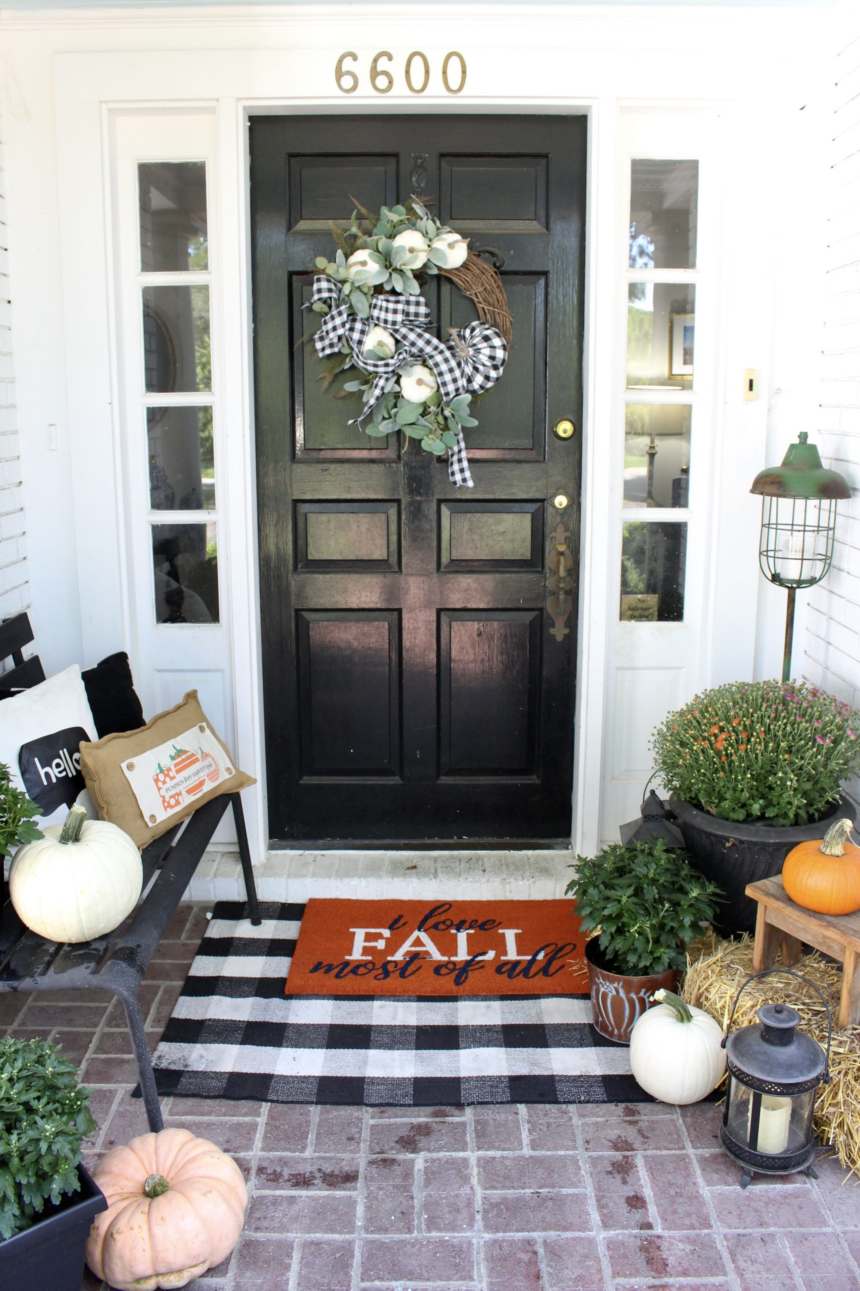 Farmhouse Fall Front Porch~ White Cottage Home & Living
