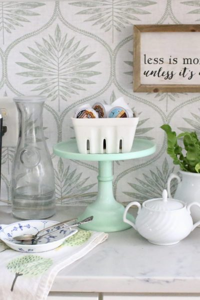 Updating a Coffee Station Using Removable Wallpaper~ White Cottage Home & Living
