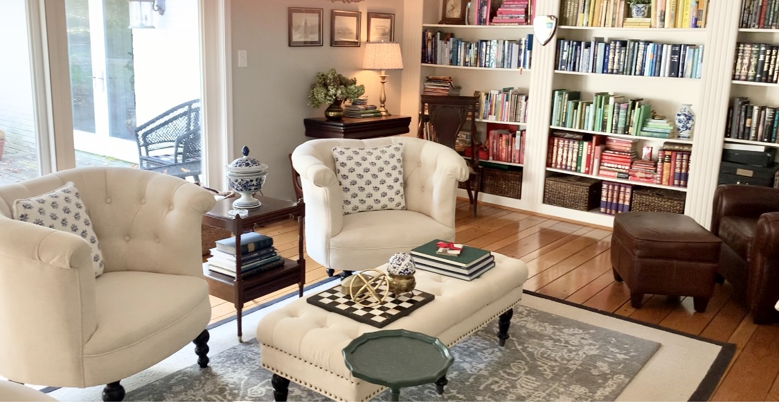 Before & After Library/ Living Room; White Cottage Home & Living