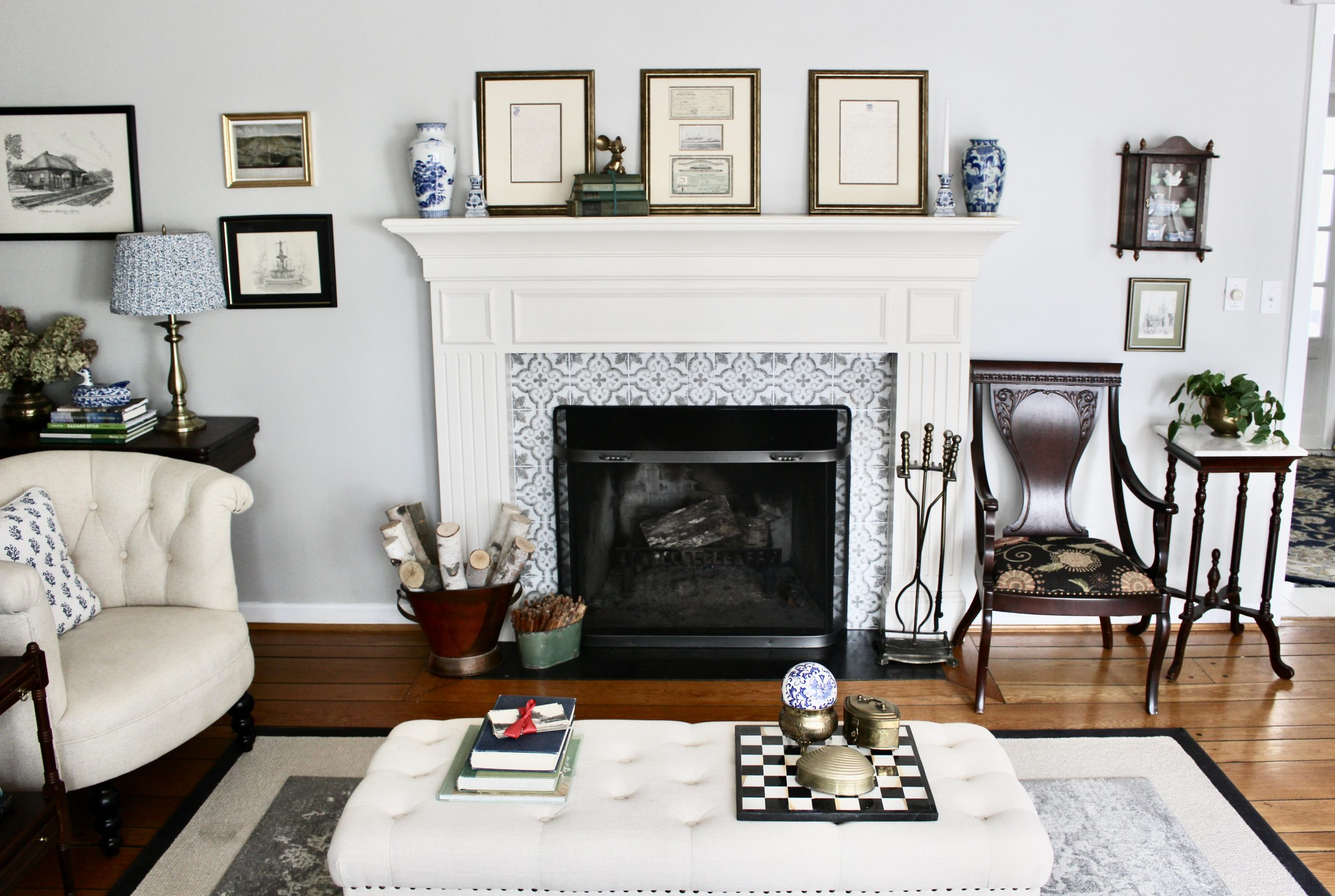 Fireplace Update with SmartTiles Peel & Stick Tiles~ White Cottage Home & Living