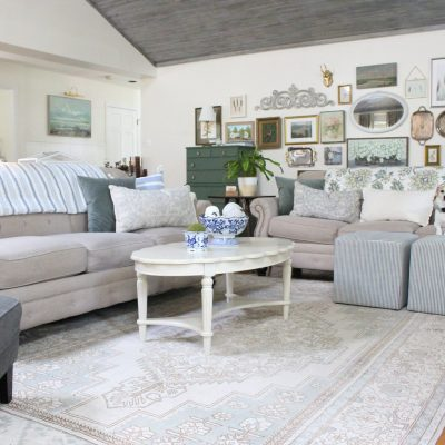 Early Fall in the Family Room with Touches of Blue and Green~ White Cottage Home & Living