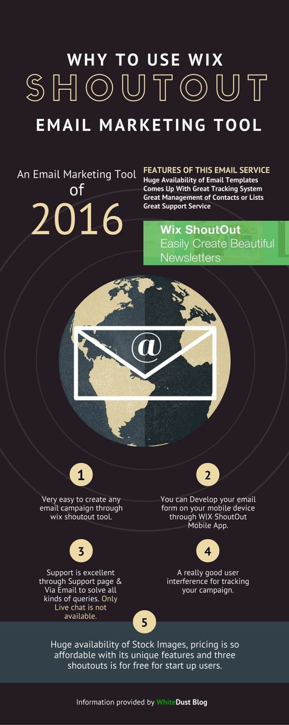 Why to use Wix ShoutOut Email Marketing tool - Infographic by WhiteDust Blog