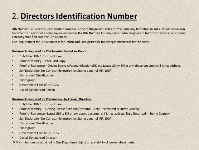 DIN registration procedure for registering the company