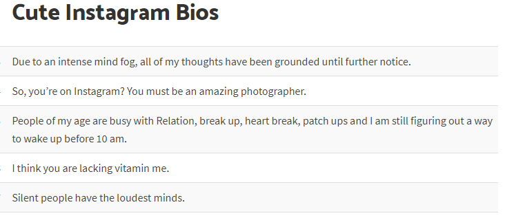 Best Collection of Funny Instagram Bios & Ideas | WHITEDUST