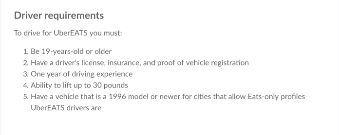under eats driver requirements