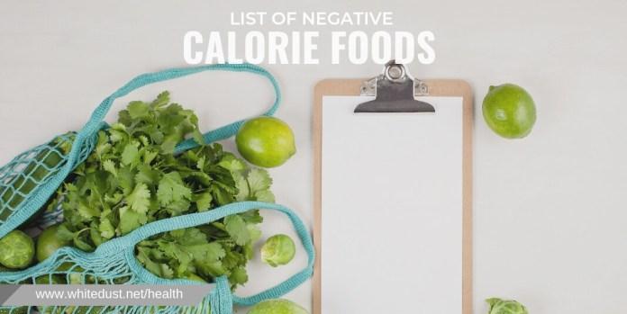 LIST OF NEGATIVE CALORIE FOODS