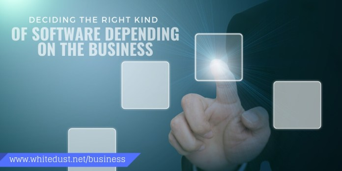deciding the right kind of software depending on the business