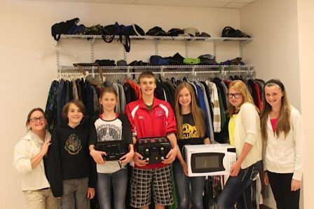 Above photo depicts the newly organized lost and found which is a vast improvement over the pile of items on a table. Pictured from left to right: Chris Holt, Galen Jamison, Mckayla Stone, Derek Kastella, Hayley Nicholson, Mackenzie Grover and Laurel Davidson