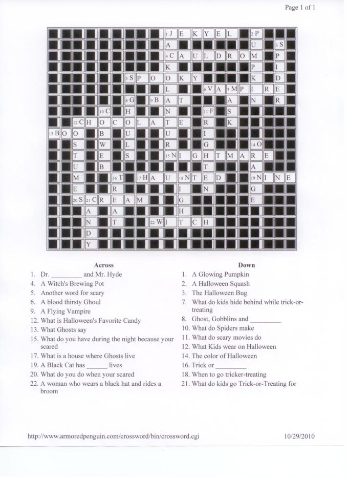 halloween crossword answers word scramble search