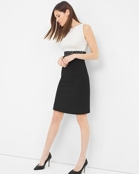 Sleeveless Colorblock Lace Waist Sheath Dress
