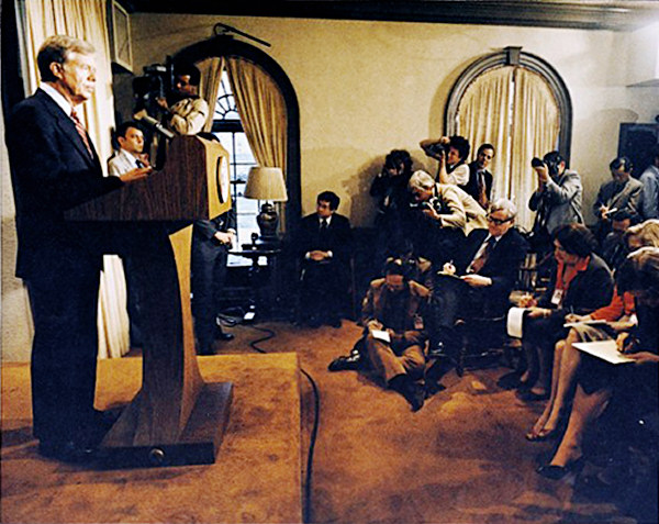 Jimmy Carter holding a briefing on the 1979 Iran Hostage Crisis