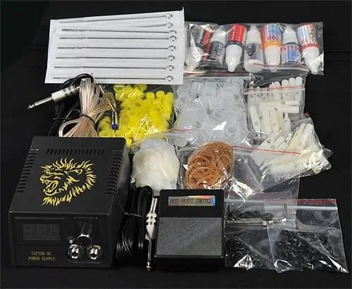 6 Gun Tattoo Kit all accessories