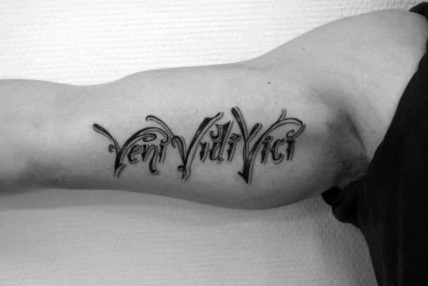 male bicep veni vidi vici tattoo design