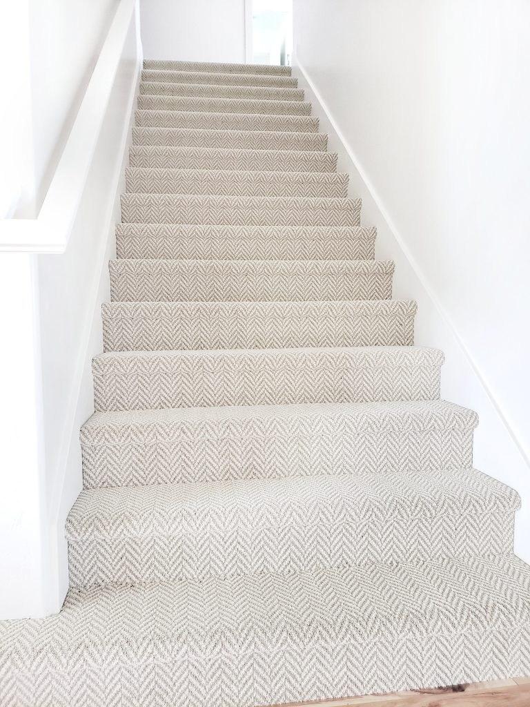 Stanton Carpet Stair Update White Lane Decor | Herringbone Carpet For Stairs | High Traffic | Textured | Classical Design | Striped | Carpet Stair Treads