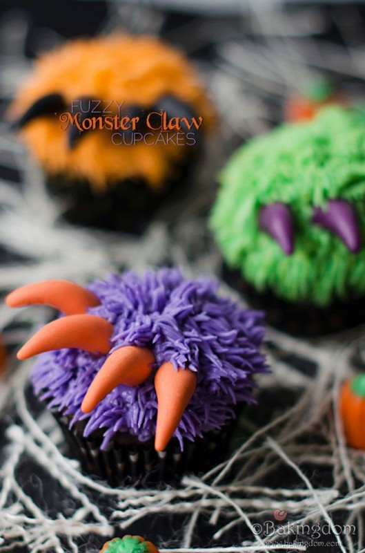 Creepy and Cute Monster Claw Cupcakes