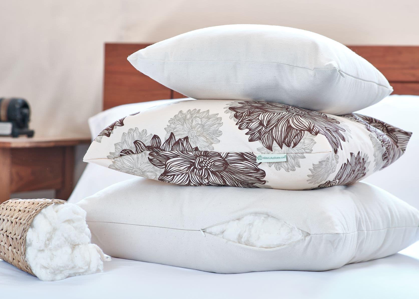 white lotus home organic cotton decorative pillow inserts at www whitelotushome com