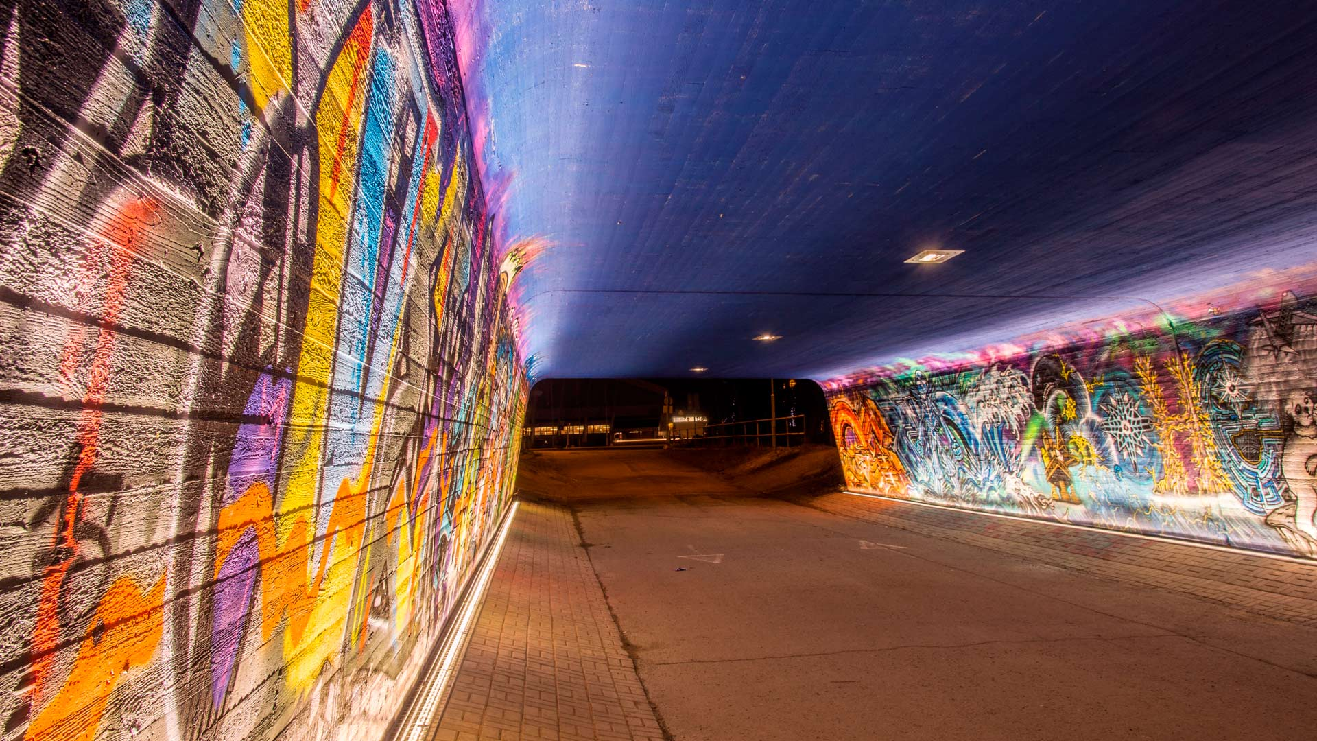 Streetart Underpass Finland Whitenight Lighting