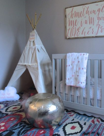 Teepee in Nursery With Gold Pouf and Modern Crib