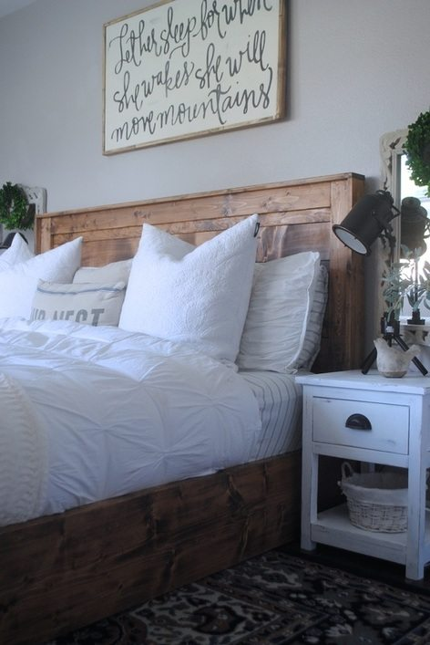 White Duvet On Rustic King Bed Staged