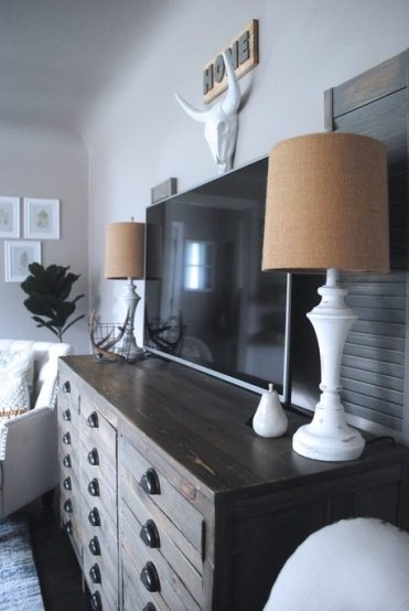 Shabby Chic Lamps on Printers Cabinet With Antlers and Fiddle Leaf Fig Tree
