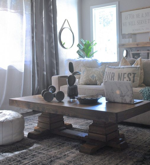 https://www.whitepicketfarmhouse.com/pedestal-coffee-table/, Shanty2chic, Shanty2Chic Coffee Table. Build a Coffee Table, Pedestal Coffee Table, DIY Coffee Table, Ana White Coffee Table