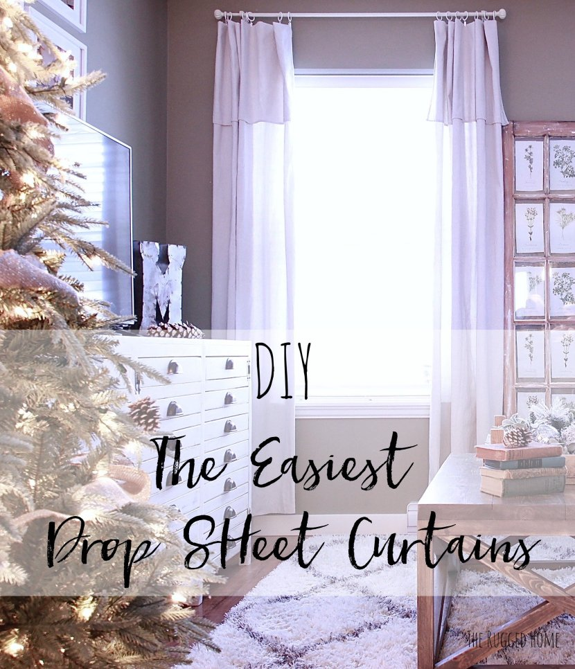 DIY The Easiest Drop Sheet Curtains, Drop Sheets From Home Depot, 4 Panels for Under 50 Dollars www.whitepicketfarmhouse.com