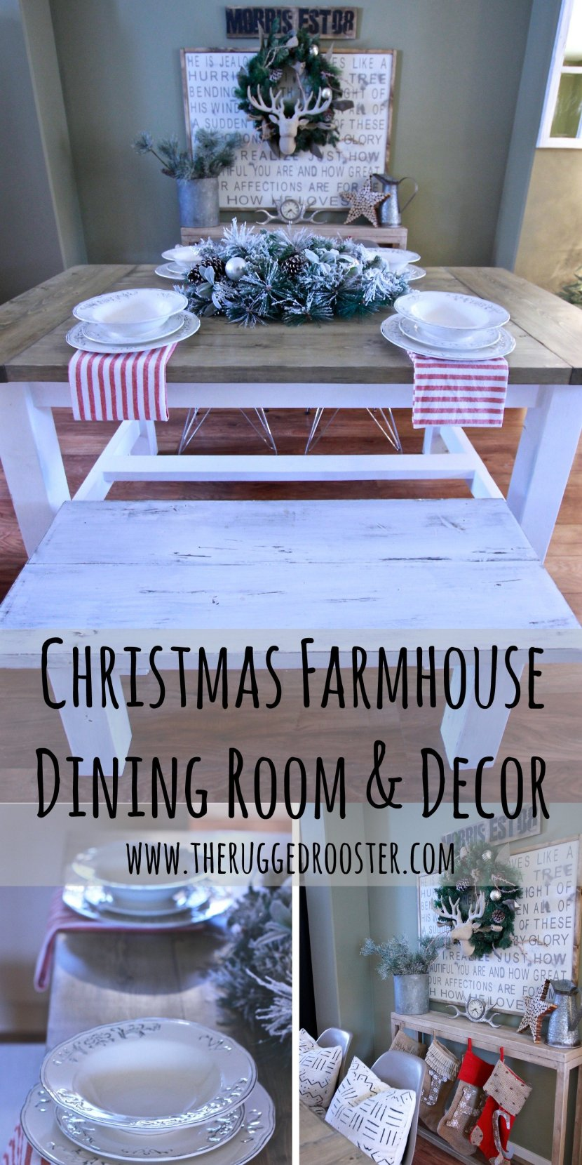 Christmas Farmhouse Dining Room Space, DIY Ana White harvest Table, Rustic Farmhouse Table www.whitepicketfarmhouse.com