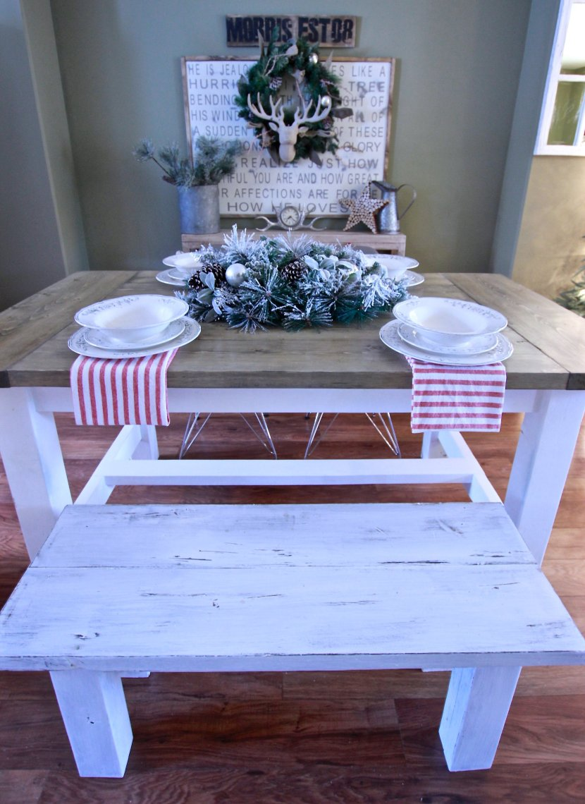 Christmas Farmhouse Dining Room Space, DIY Ana White harvest Table, Rustic Farmhouse Table