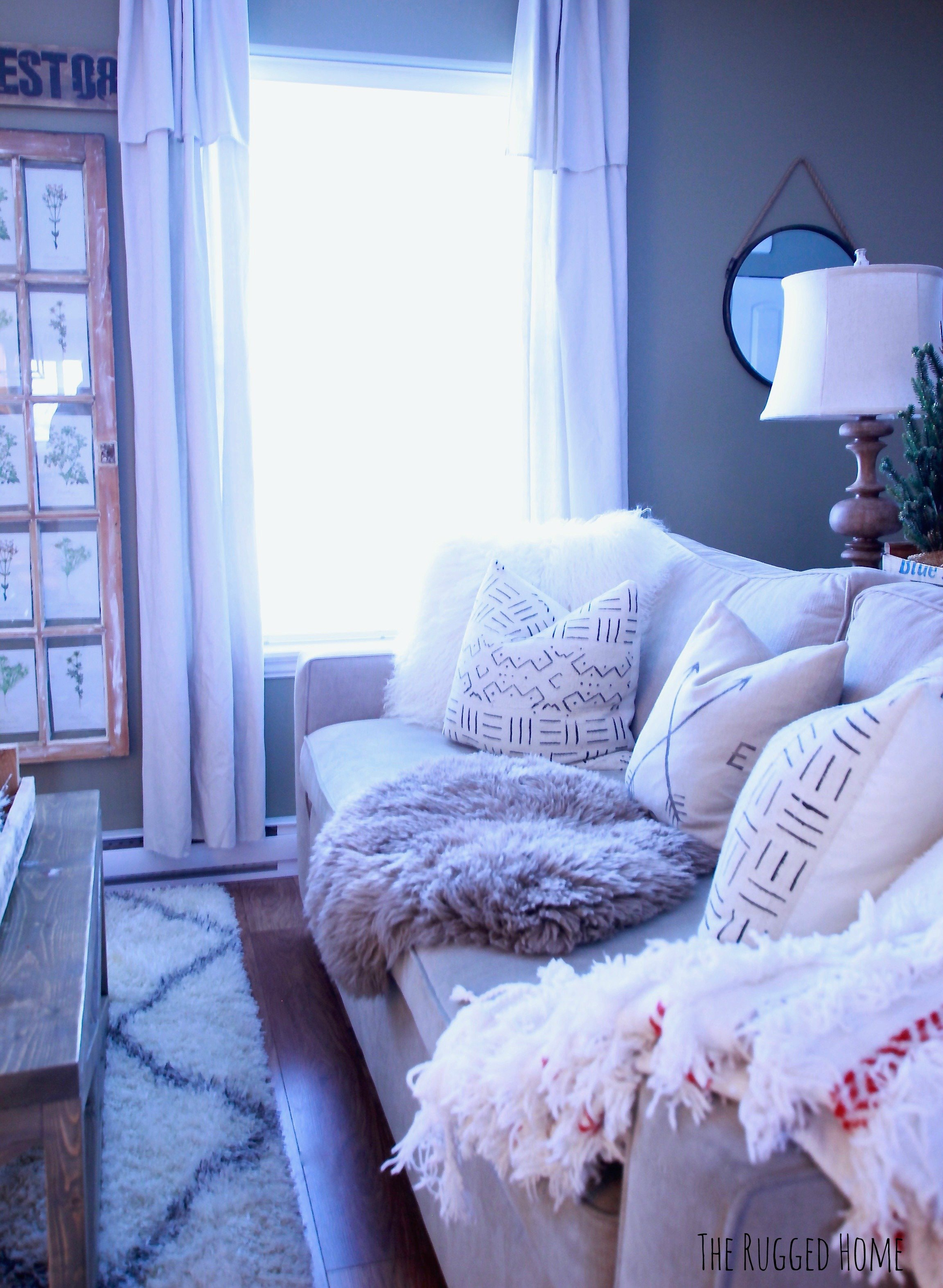 """DIY The Easiest Farmhouse Drop Sheet Curtains Ever, Step By Step, Where To Buy Everything, How TO Make Them Look Good, Under 50 Bucks For 4 Panels at 108"""" Length! www.whitepicketfarmhouse.com"""