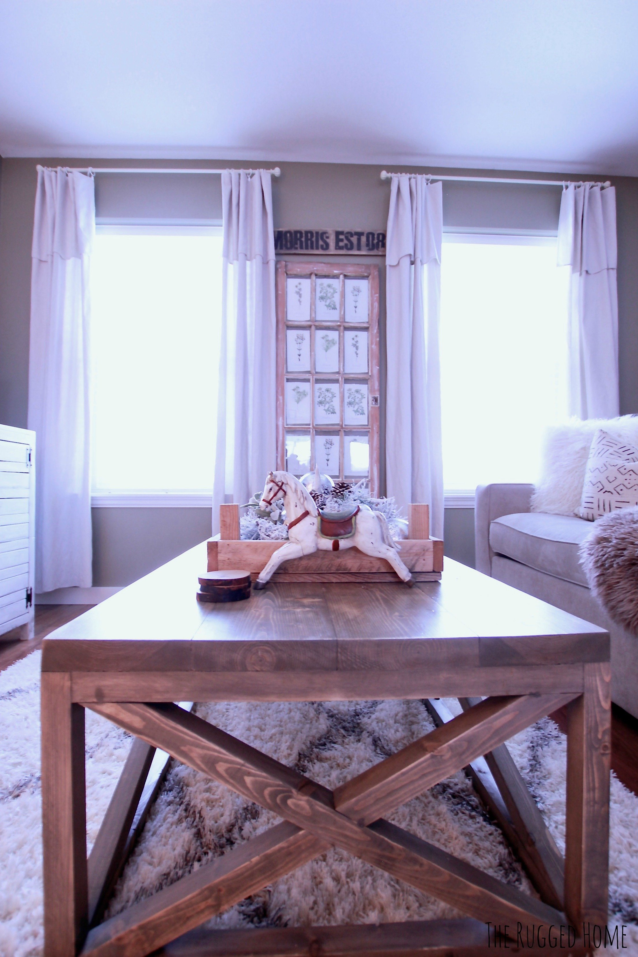 "DIY The Easiest Farmhouse Drop Sheet Curtains Ever, Step By Step, Where To Buy Everything, How TO Make Them Look Good, Under 50 Bucks For 4 Panels at 108"" Length! www.whitepicketfarmhouse.com"