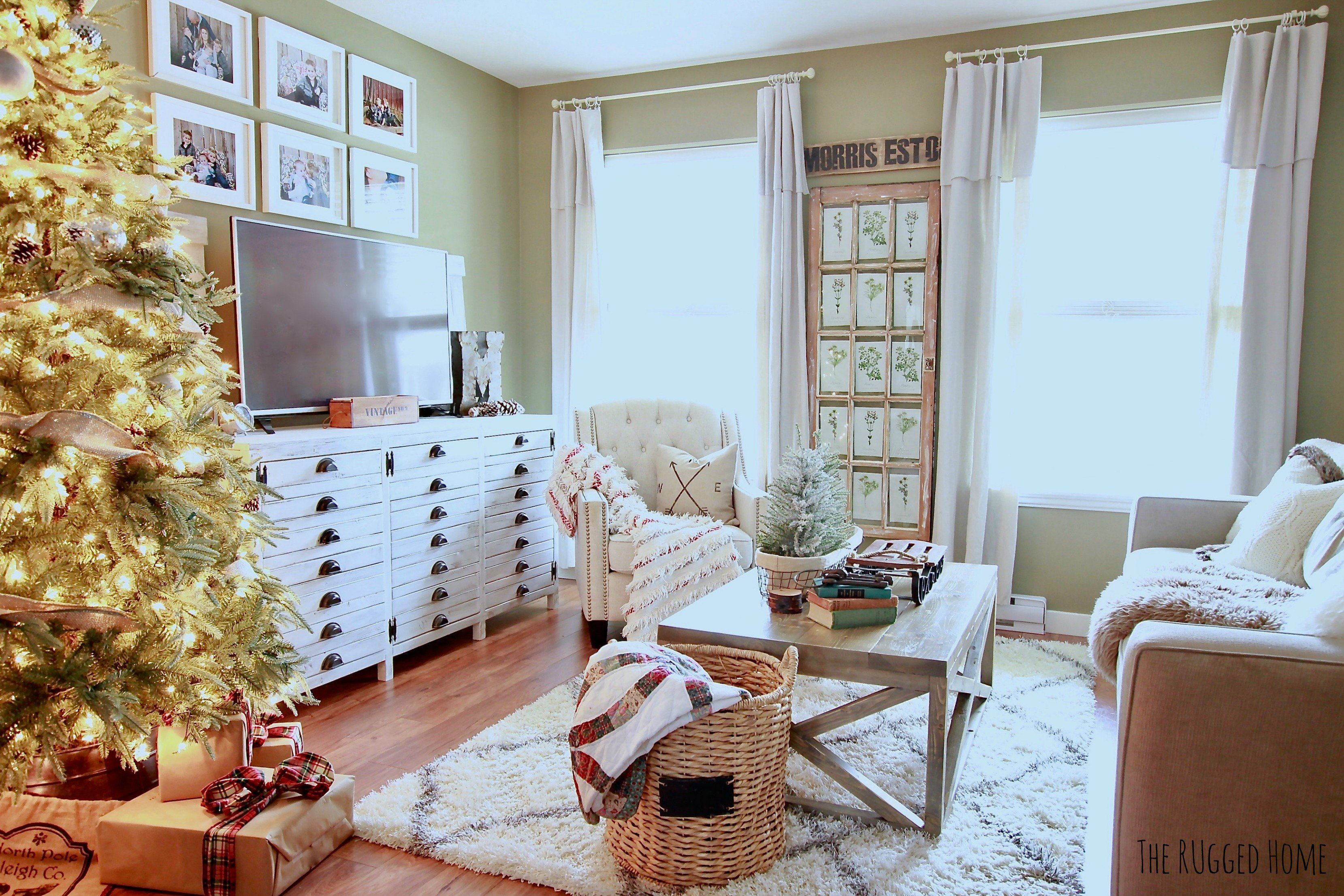 Our White Farmhouse Christmas Living Room, This Year We Decorated Our Home  In Whites,