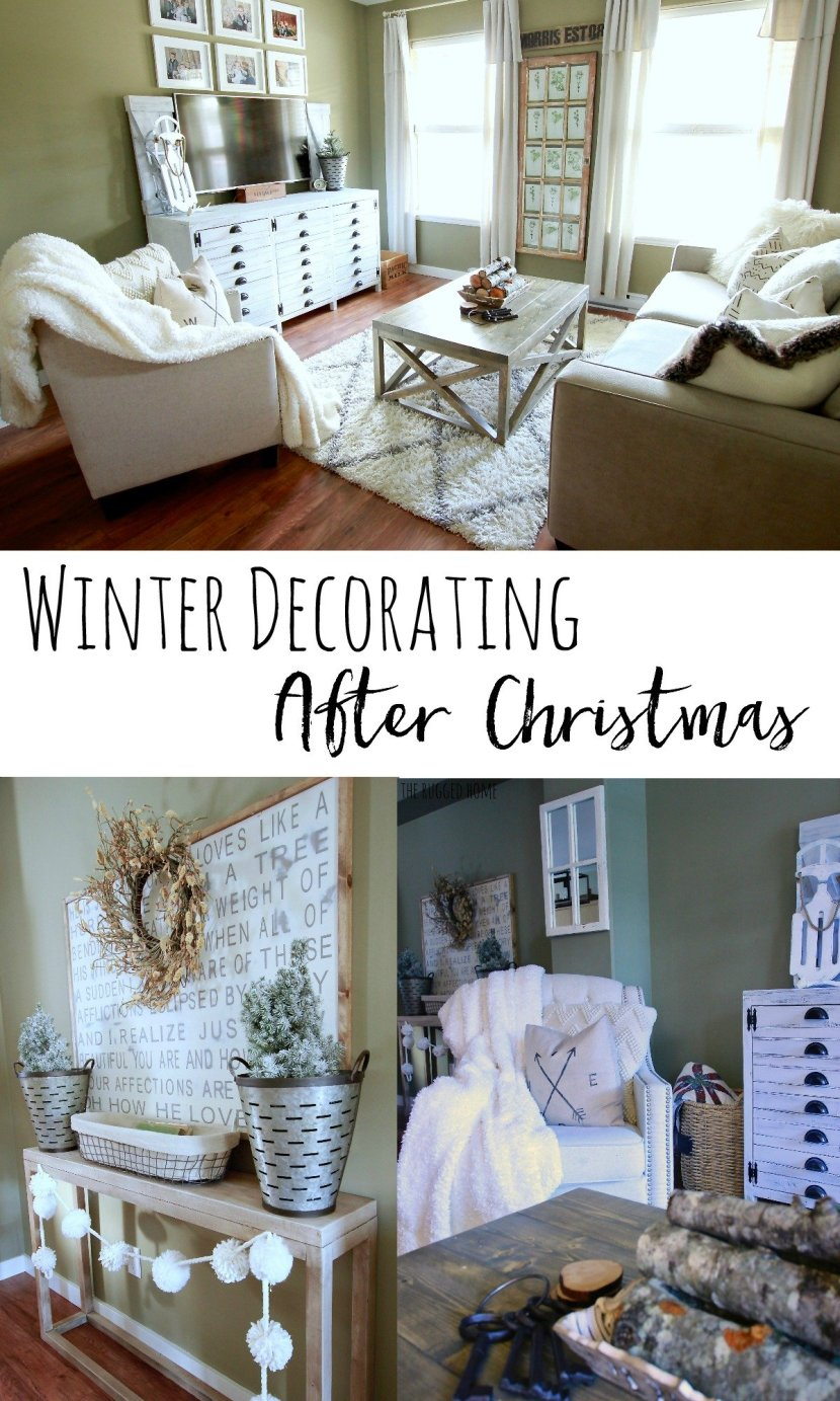 Winter decorating after Christmas. How to decorate for winter time and still have a cozy home without all the christmas clutter www.whitepicketfarmhouse.com