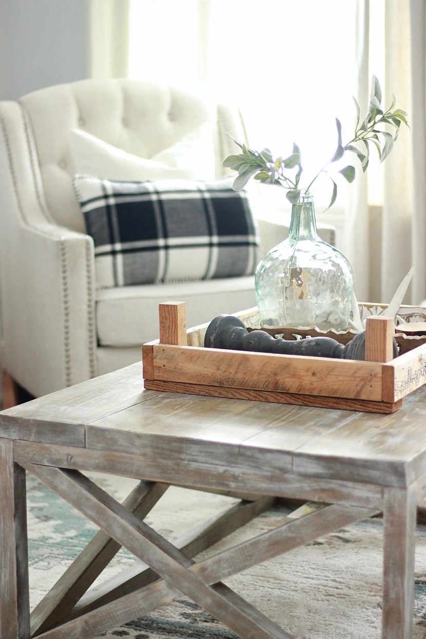DIY White Farmhouse Living Room, Distressed Rustic Coffee Table, Printers Cabinet and Sage Plants www.whitepicketfarmhouse.com