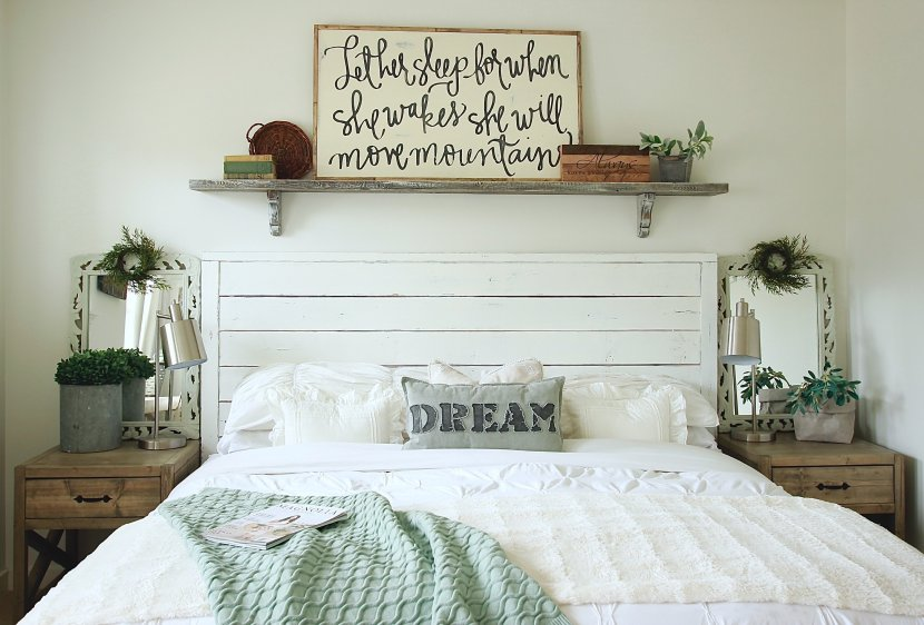 Our DIY Wall Shelf Above Our Bed, Under 15 bucks and  takes minute to make! Gorgeous Farmhouse Master Bedroom WhiteonWHiteonWhite www.whitepicketfarmhouse.com