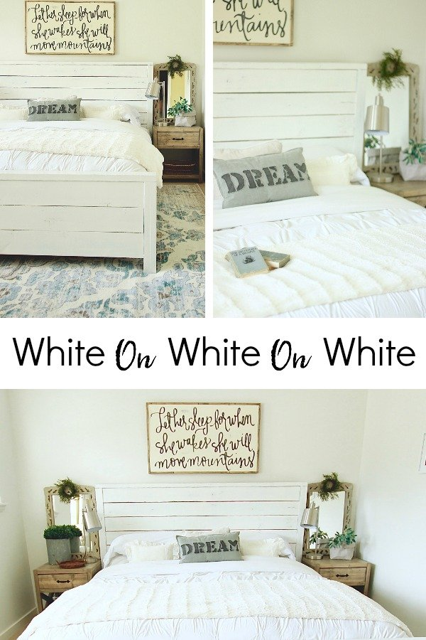 White On White On White. We Painted our walls in our master bedroom white. Farmhouse White BEdroom www.whitepicketfarmhouse.com