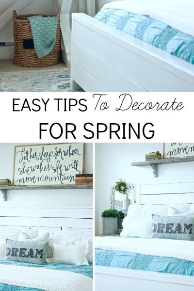 Easy Tips TO Decorate For Spring. No Need To run out and buy new decor, use what you already have! www.whitepicketfarmhouse.com spring decorating, easy decorating, simple springs tips.