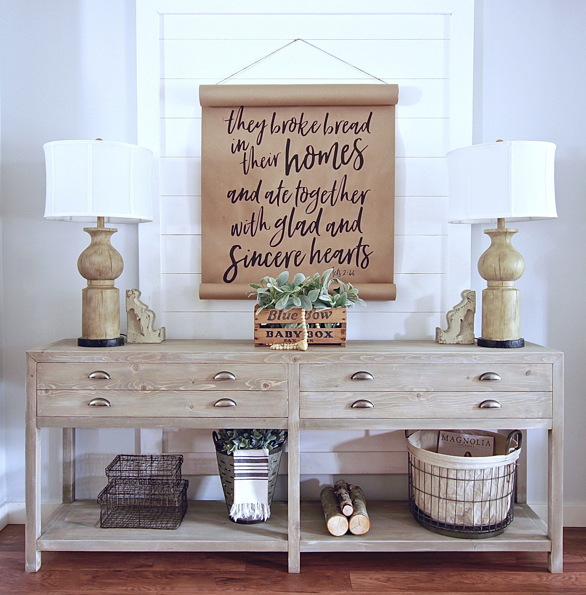 Our Restoration Hardware Inspired Console. Plans Coming Soon. For more DIY's Check out www.whitepicketfarmhouse.com
