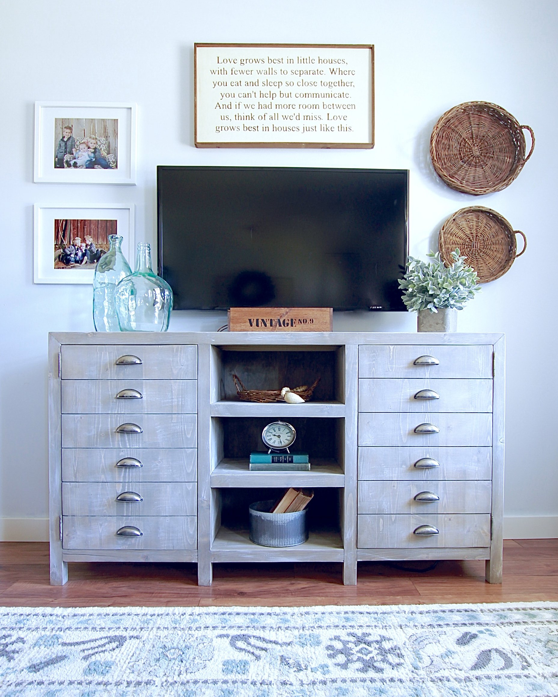 Matching Restoration Hardware Inspired Consoles, Printmakers Console, Media Stand, TV Stand, DIY Rustic TV Stand, DIY Rustic Dining Room Sideboard Ana White www.whitepicketfarmhouse.com