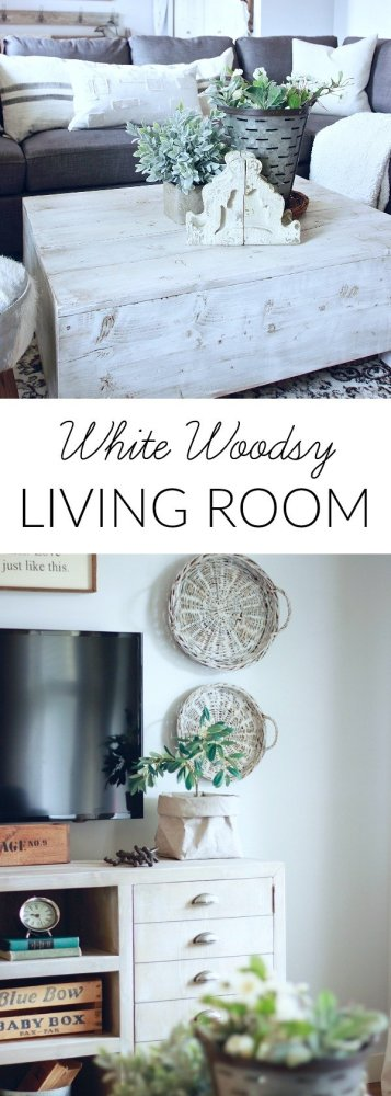 Our White Woodsy Living Room.. Get the sources for all of our decor and furniture and how I created the look. Farmhouse Living Room, Modern Farmhouse www.whitepicketfarmhouse.com